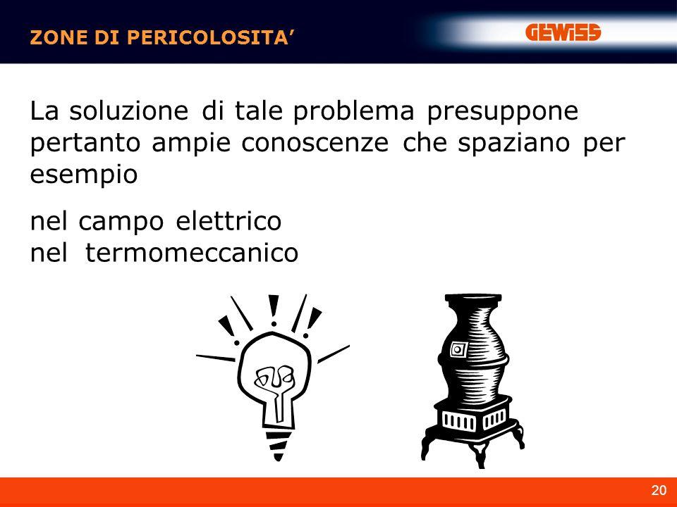 ZONE DI PERICOLOSITA' La soluzione di tale problema presuppone pertanto ampie conoscenze che spaziano per esempio.