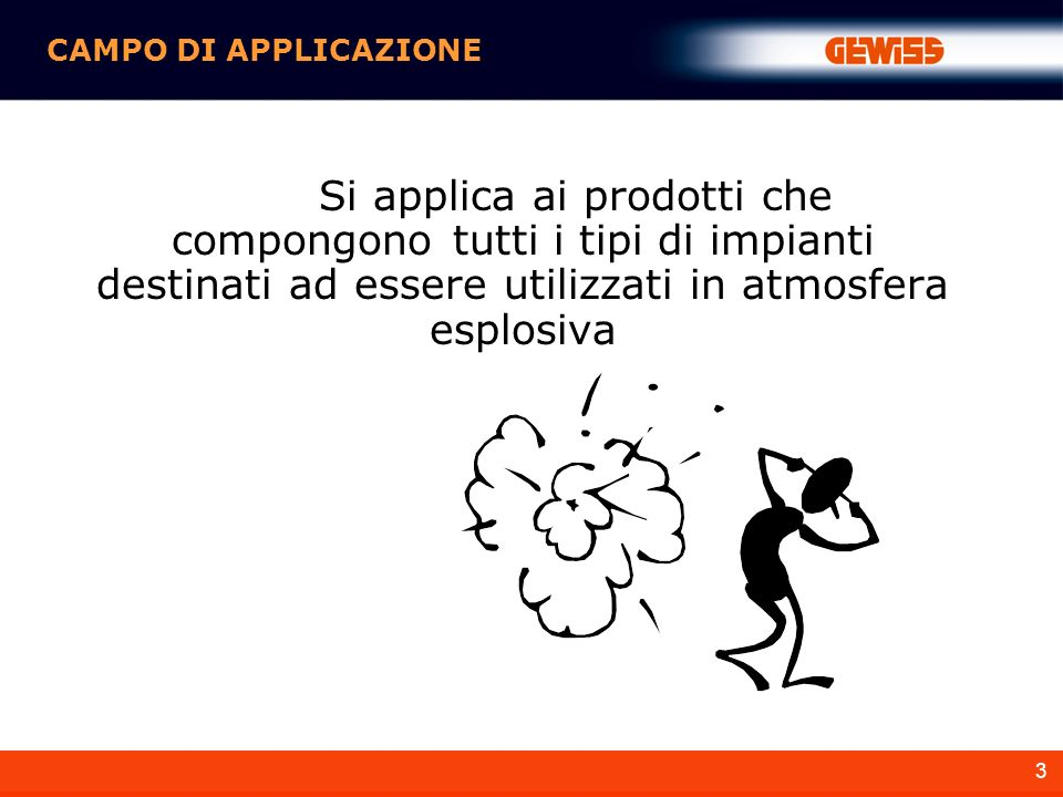 CAMPO DI APPLICAZIONE Si applica ai prodotti che compongono tutti i tipi di impianti destinati ad essere utilizzati in atmosfera esplosiva.