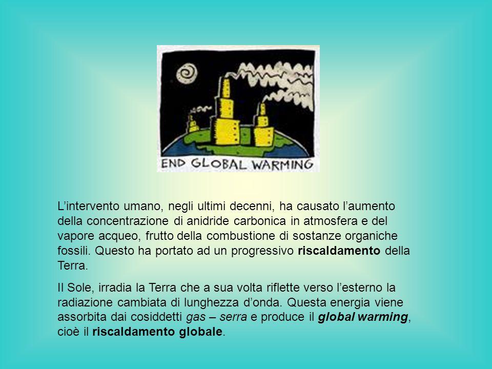 L'intervento umano, negli ultimi decenni, ha causato l'aumento della concentrazione di anidride carbonica in atmosfera e del vapore acqueo, frutto della combustione di sostanze organiche fossili. Questo ha portato ad un progressivo riscaldamento della Terra.