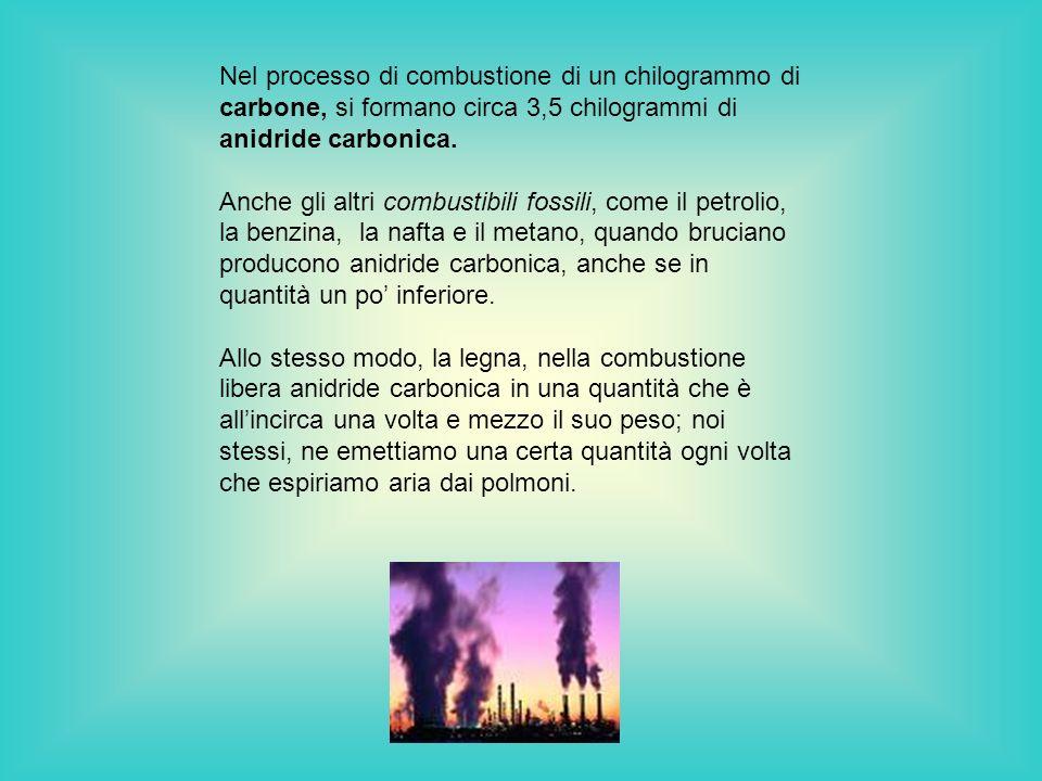 Nel processo di combustione di un chilogrammo di carbone, si formano circa 3,5 chilogrammi di anidride carbonica.