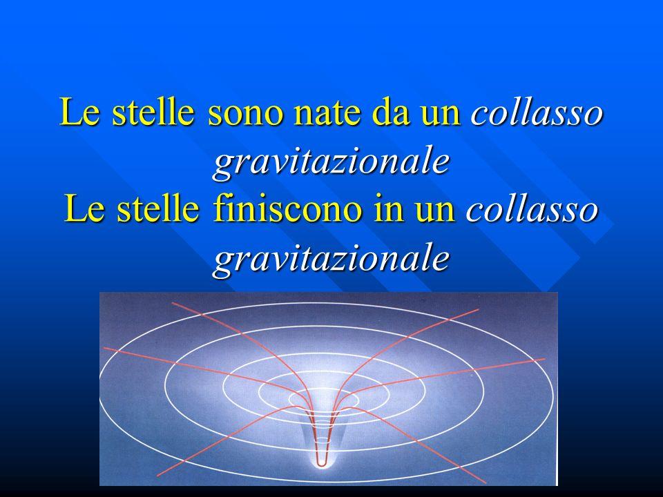 Le stelle sono nate da un collasso gravitazionale Le stelle finiscono in un collasso gravitazionale