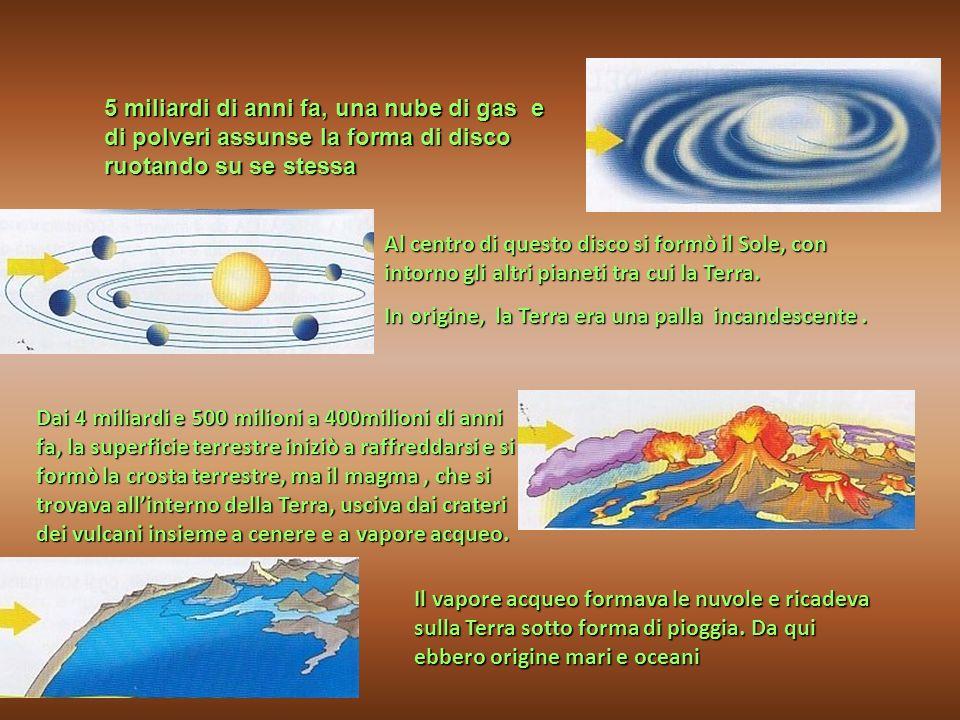 5 miliardi di anni fa, una nube di gas e di polveri assunse la forma di disco ruotando su se stessa