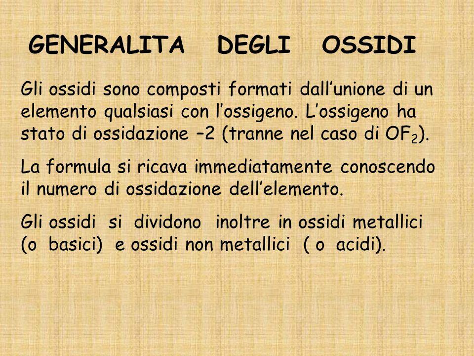 GENERALITA DEGLI OSSIDI