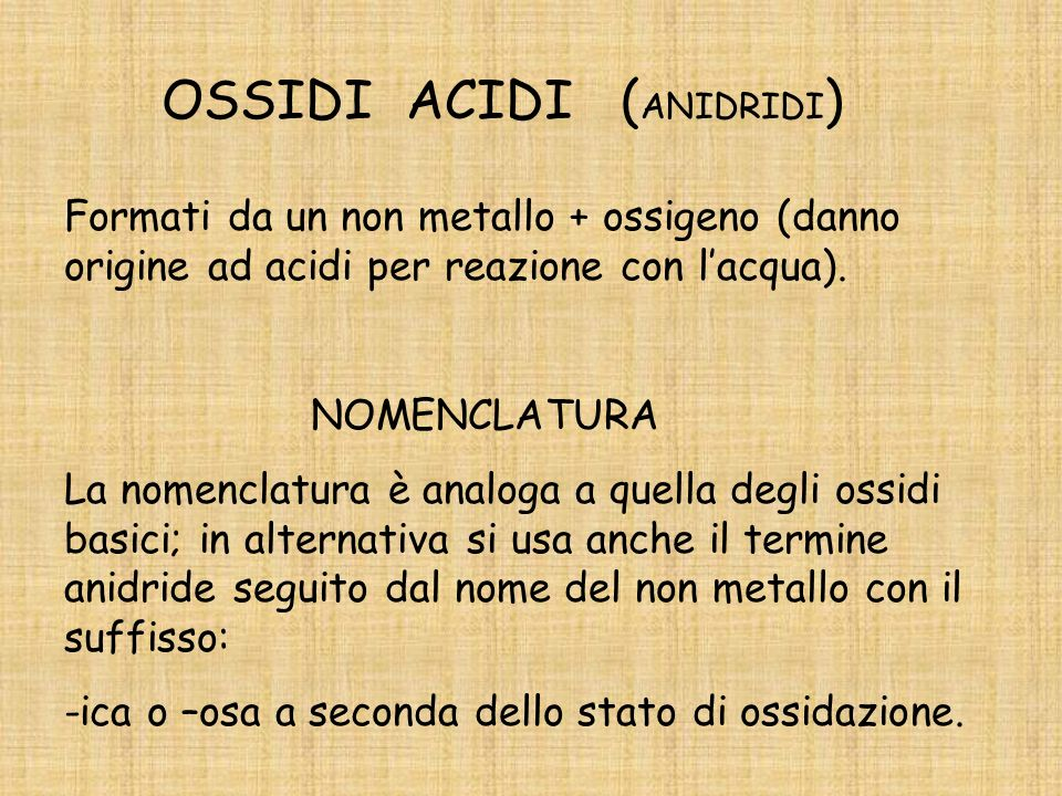 OSSIDI ACIDI (ANIDRIDI)