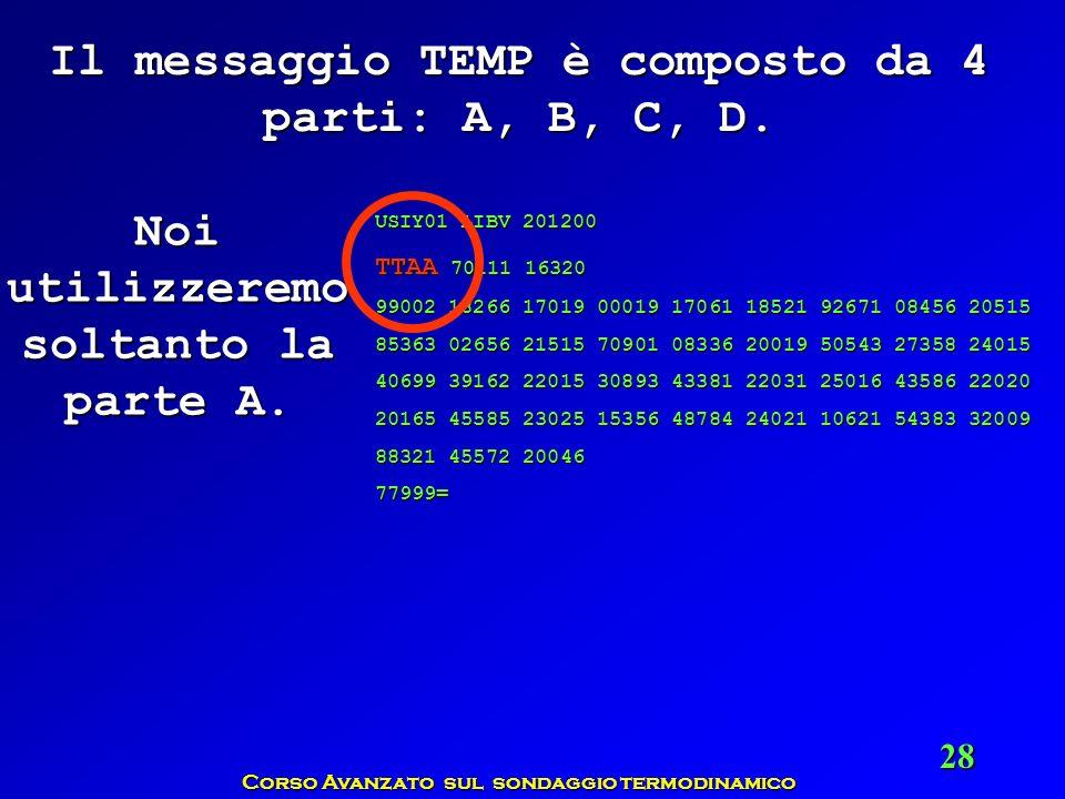 Il messaggio TEMP è composto da 4 parti: A, B, C, D.