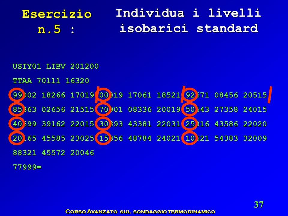 Individua i livelli isobarici standard