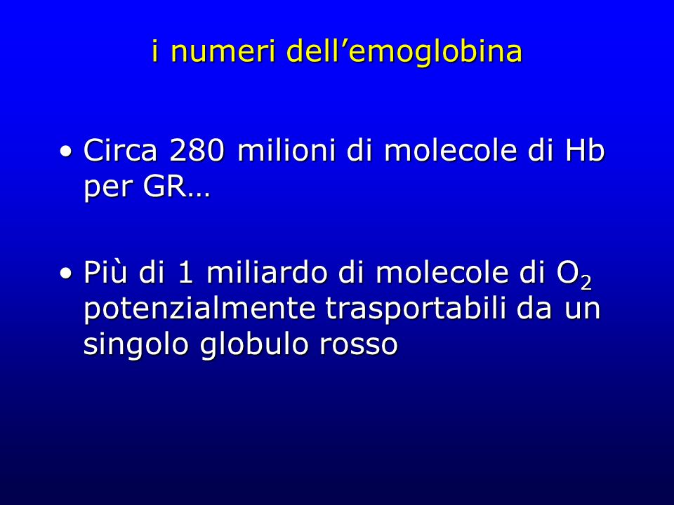 i numeri dell'emoglobina