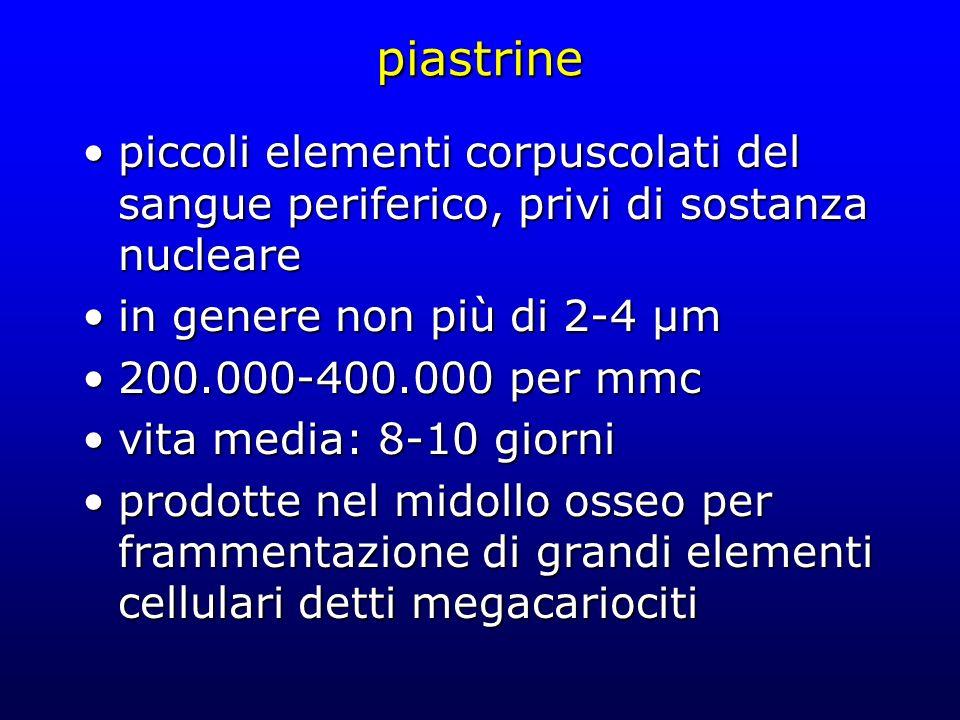 piastrine piccoli elementi corpuscolati del sangue periferico, privi di sostanza nucleare. in genere non più di 2-4 µm.