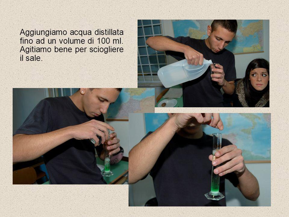 Aggiungiamo acqua distillata fino ad un volume di 100 ml