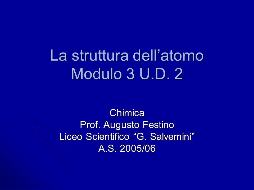 La struttura dell'atomo Modulo 3 U.D. 2