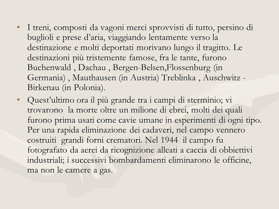I treni, composti da vagoni merci sprovvisti di tutto, persino di buglioli e prese d'aria, viaggiando lentamente verso la destinazione e molti deportati morivano lungo il tragitto. Le destinazioni più tristemente famose, fra le tante, furono Buchenwald , Dachau , Bergen-Belsen,Flossenburg (in Germania) , Mauthausen (in Austria) Treblinka , Auschwitz - Birkenau (in Polonia).