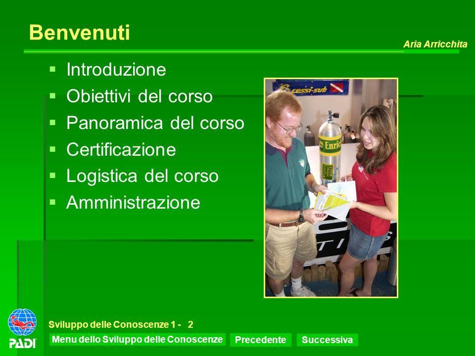 Benvenuti Introduzione Obiettivi del corso Panoramica del corso