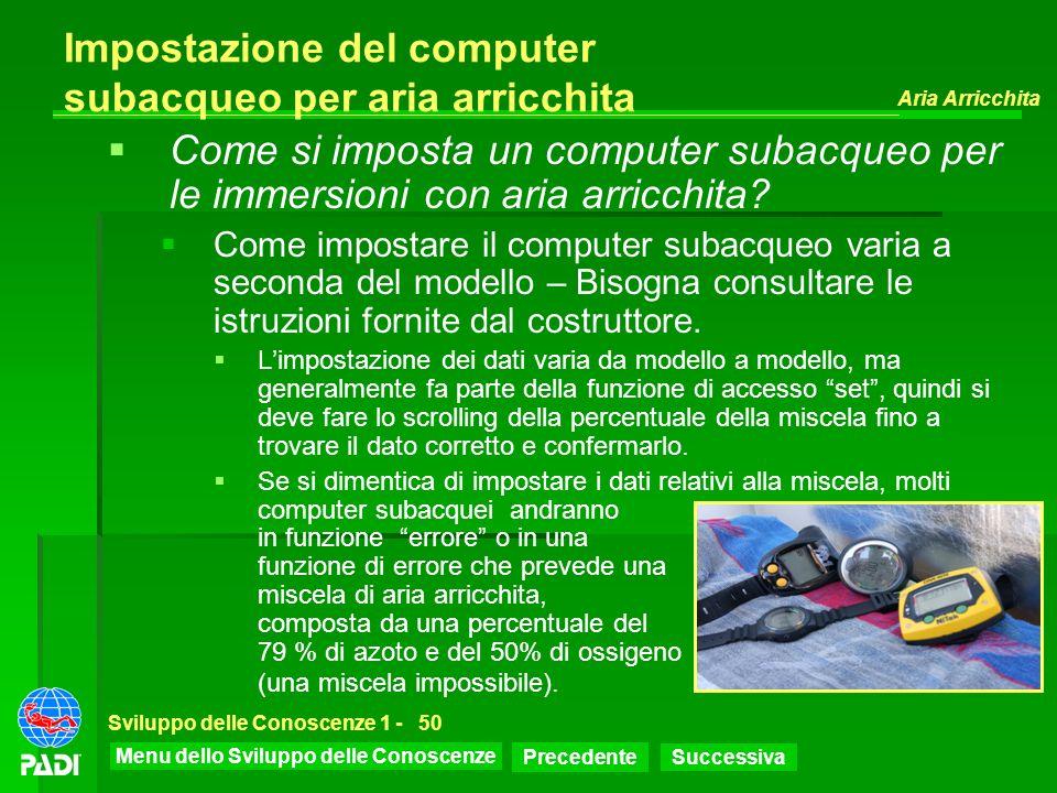 Impostazione del computer subacqueo per aria arricchita