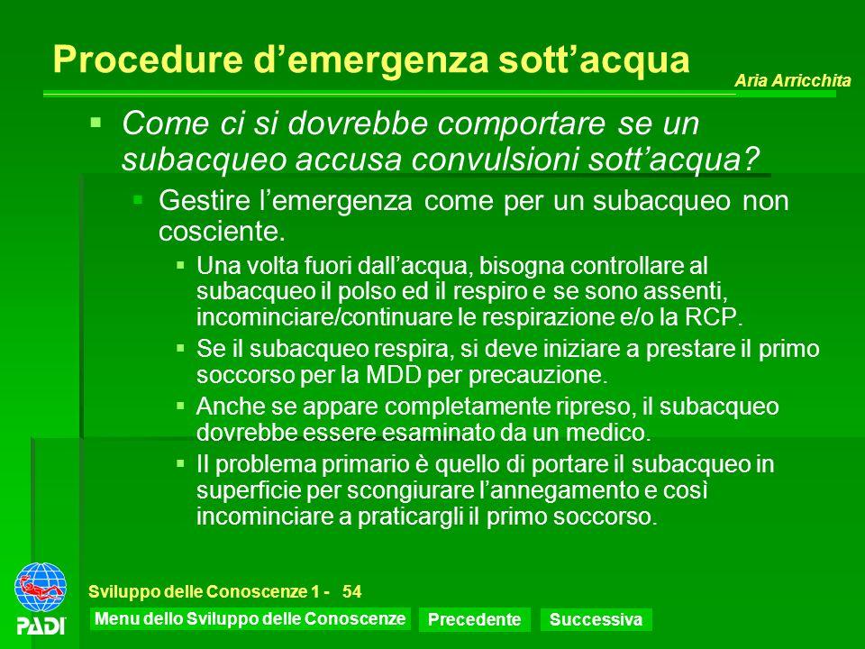 Procedure d'emergenza sott'acqua