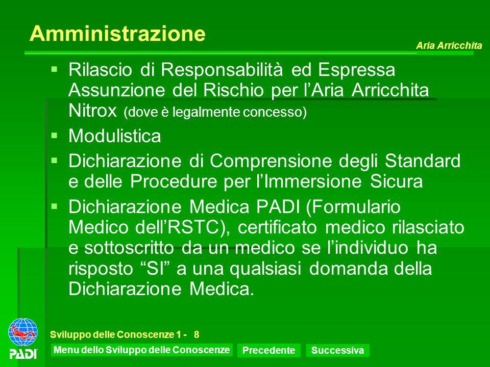 AmministrazioneRilascio di Responsabilità ed Espressa Assunzione del Rischio per l'Aria Arricchita Nitrox (dove è legalmente concesso)