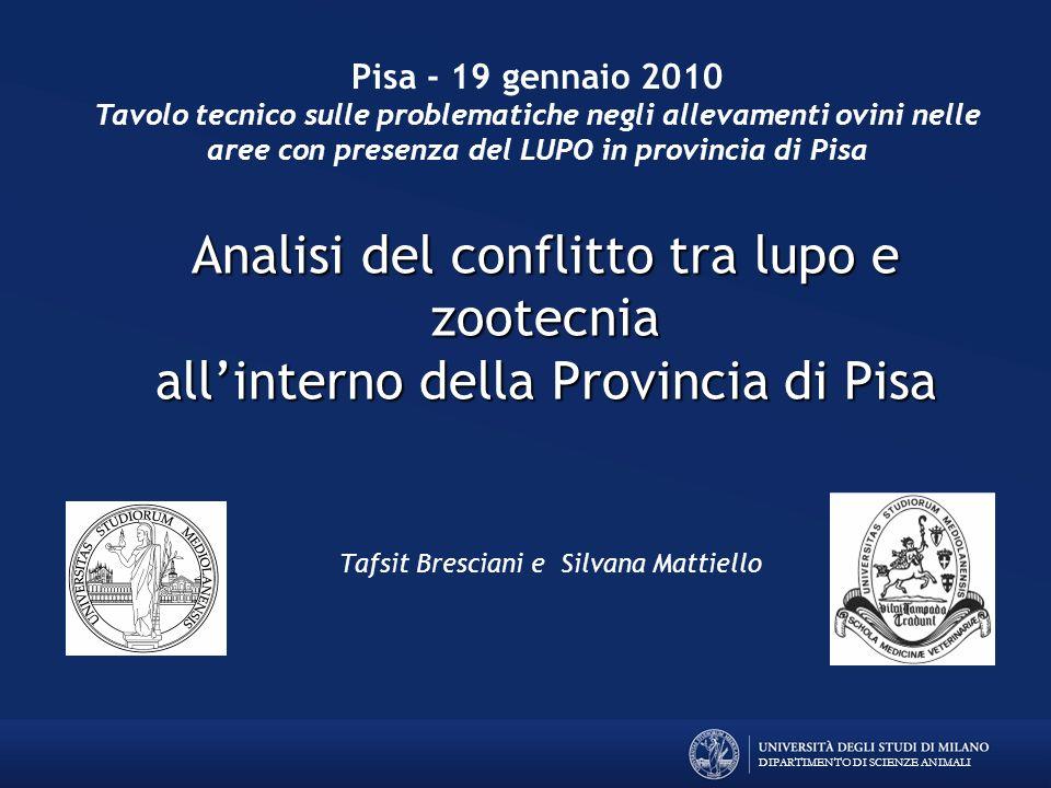 Pisa - 19 gennaio 2010Tavolo tecnico sulle problematiche negli allevamenti ovini nelle aree con presenza del LUPO in provincia di Pisa.