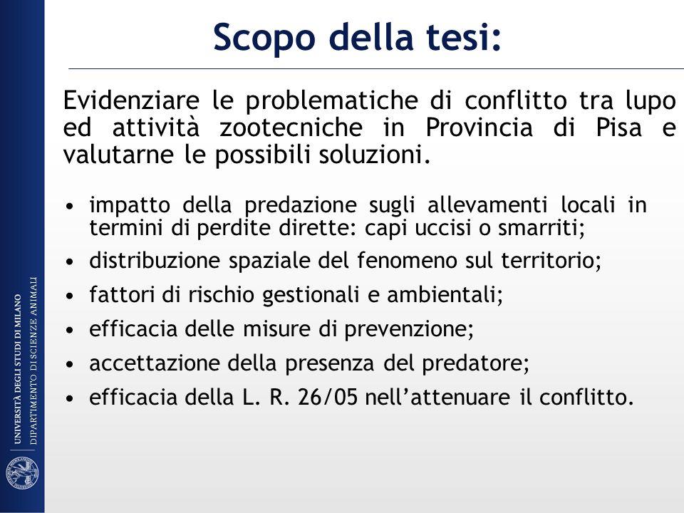 Scopo della tesi:Evidenziare le problematiche di conflitto tra lupo ed attività zootecniche in Provincia di Pisa e valutarne le possibili soluzioni.
