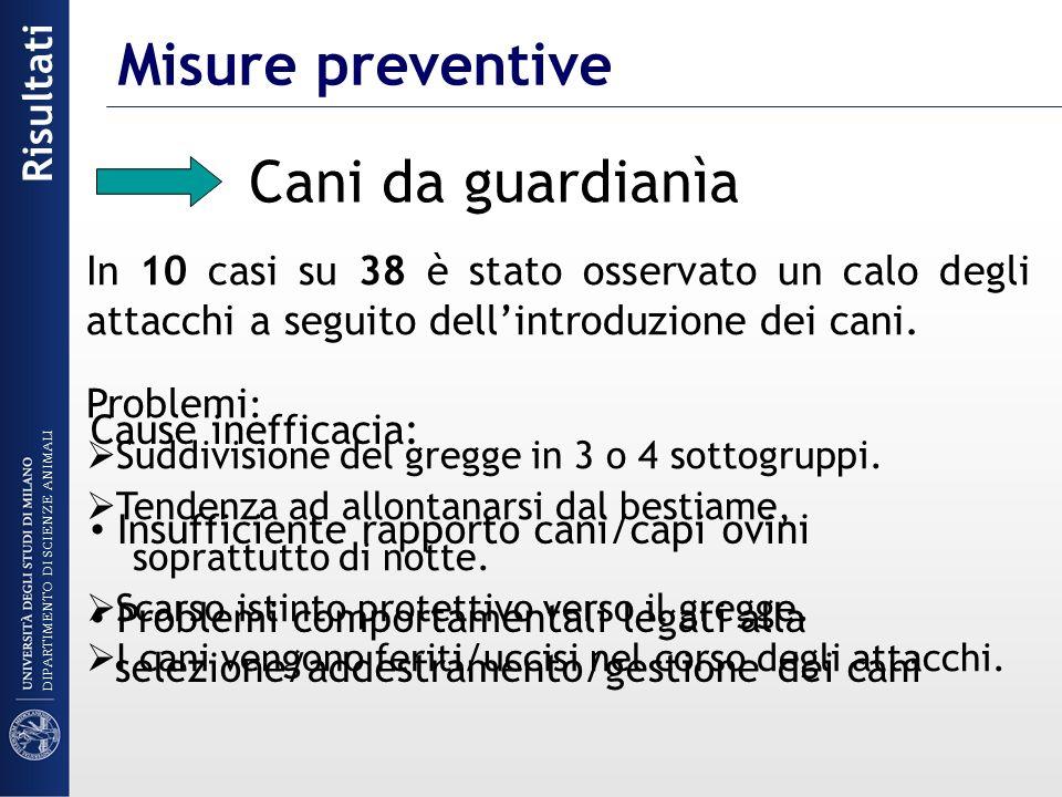 Misure preventive Cani da guardianìa Risultati