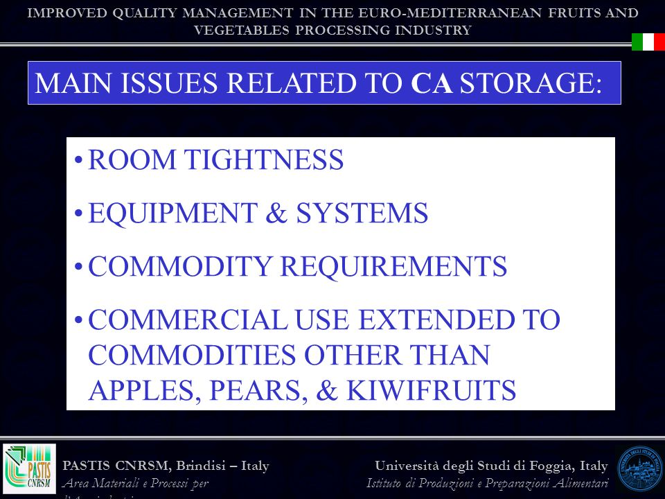 MAIN ISSUES RELATED TO CA STORAGE: