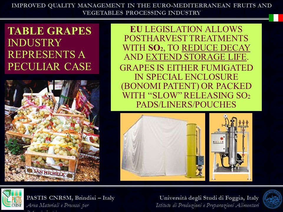 TABLE GRAPES INDUSTRY REPRESENTS A PECULIAR CASE