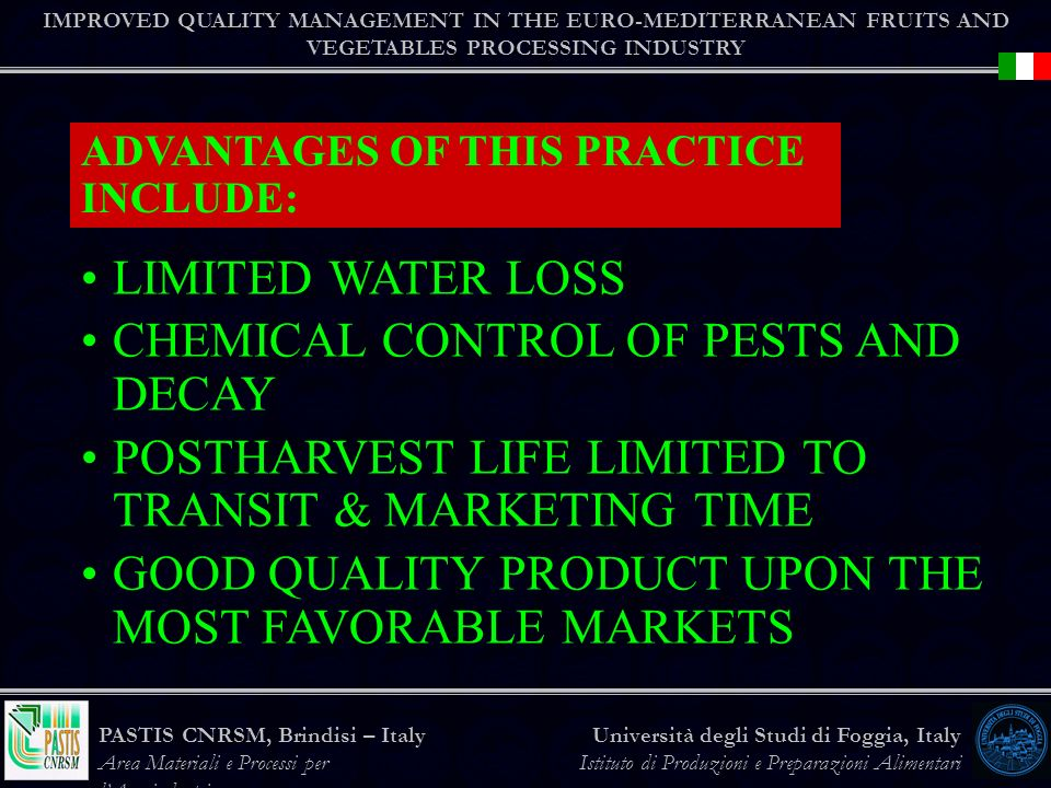 CHEMICAL CONTROL OF PESTS AND DECAY