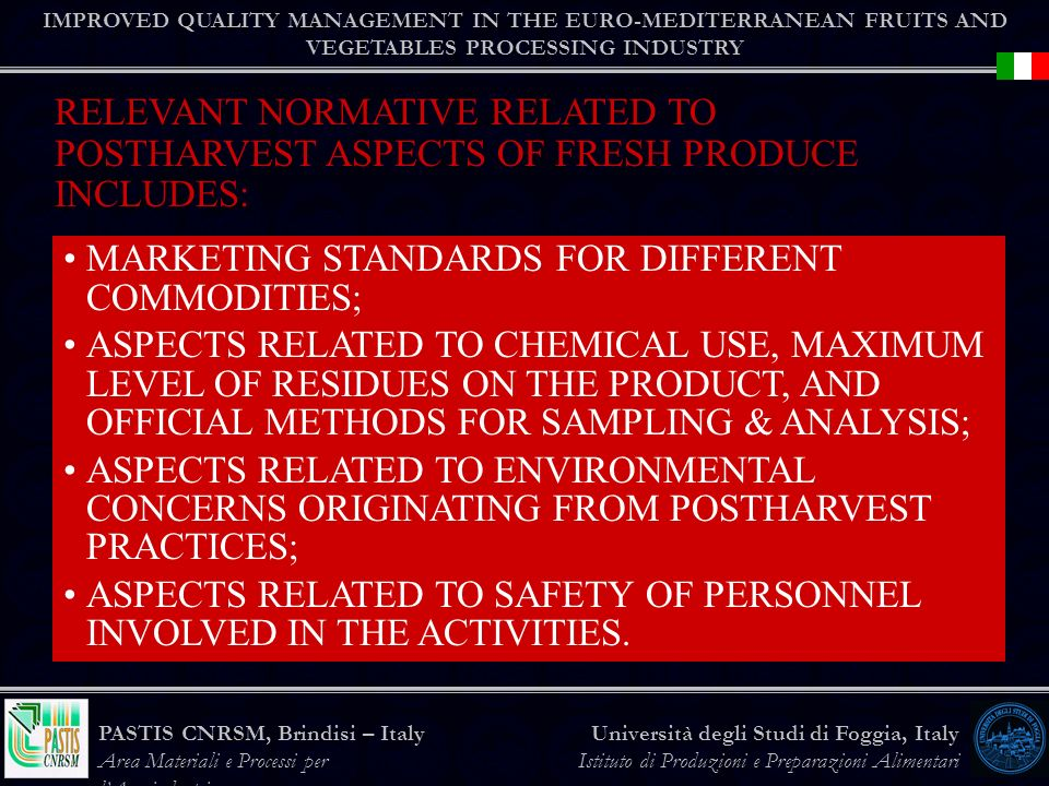 MARKETING STANDARDS FOR DIFFERENT COMMODITIES;