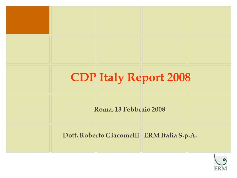 Roma, 13 Febbraio 2008 Dott. Roberto Giacomelli - ERM Italia S.p.A.