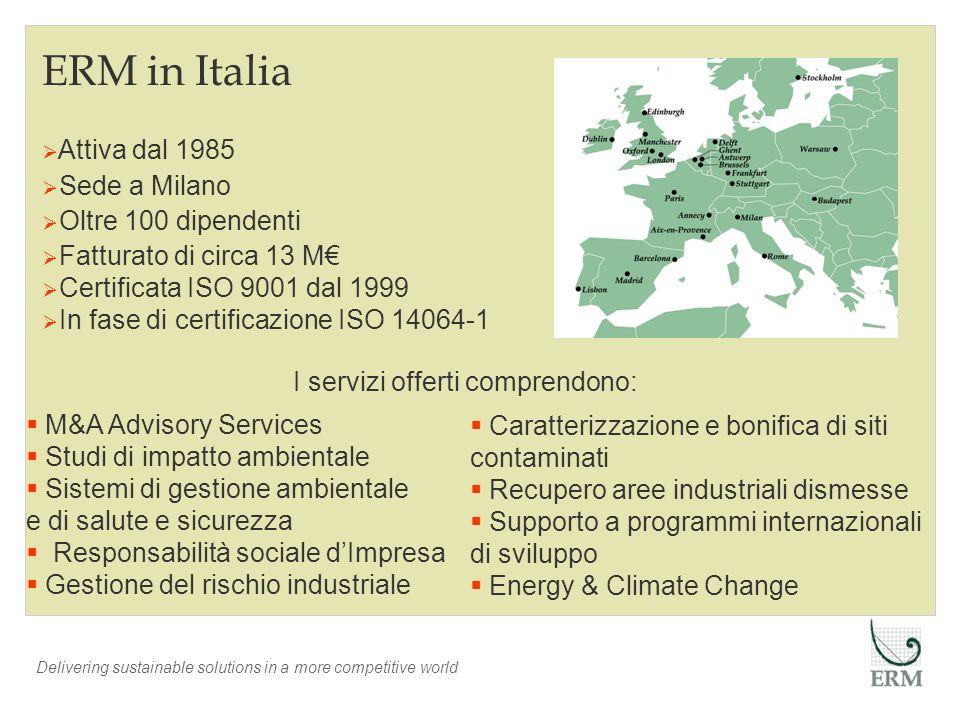 ERM in Italia Attiva dal 1985 Sede a Milano Oltre 100 dipendenti