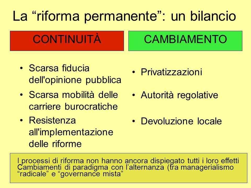 La riforma permanente : un bilancio