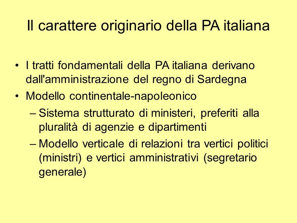Il carattere originario della PA italiana