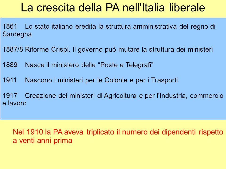La crescita della PA nell Italia liberale