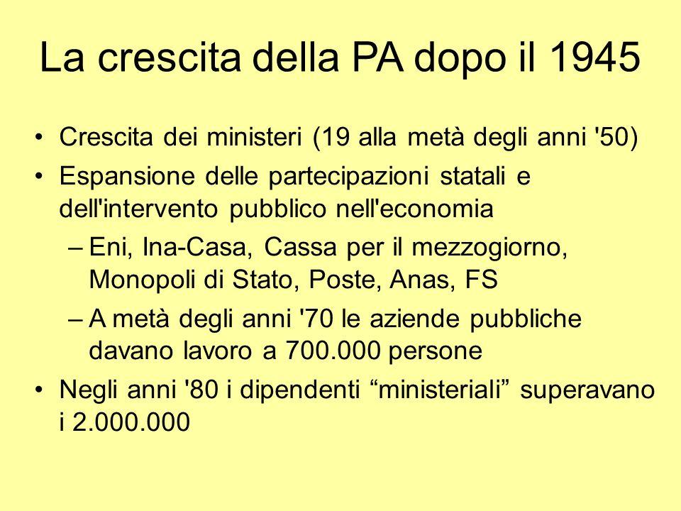 La crescita della PA dopo il 1945