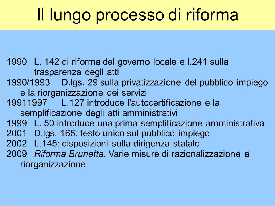 Il lungo processo di riforma