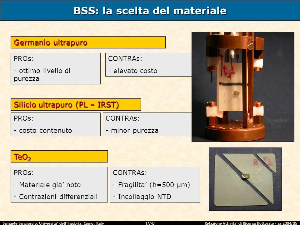 BSS: la scelta del materiale