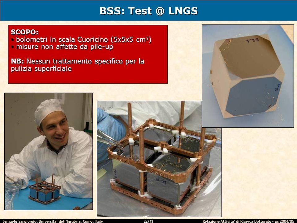 BSS: Test @ LNGS SCOPO: bolometri in scala Cuoricino (5x5x5 cm3)