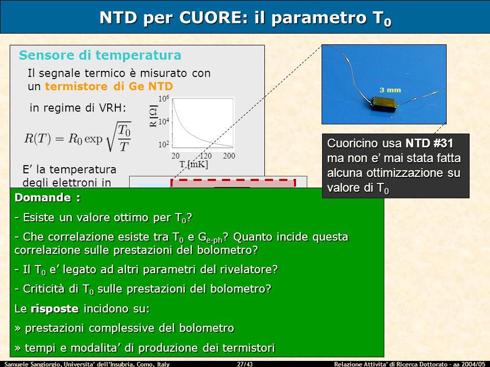 NTD per CUORE: il parametro T0