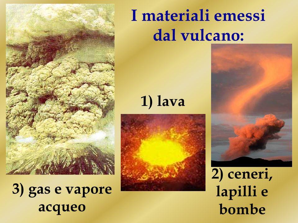 I materiali emessi dal vulcano: 2) ceneri, lapilli e bombe