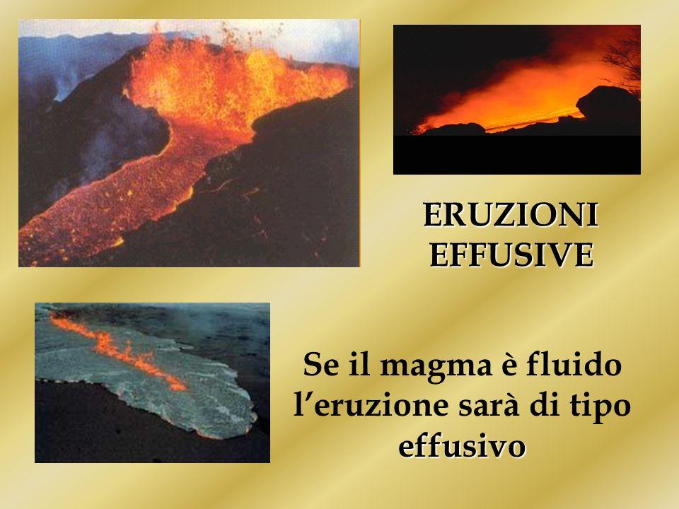 Se il magma è fluido l'eruzione sarà di tipo effusivo