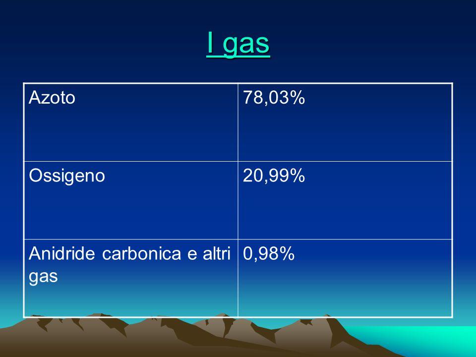 I gas Azoto 78,03% Ossigeno 20,99% Anidride carbonica e altri gas