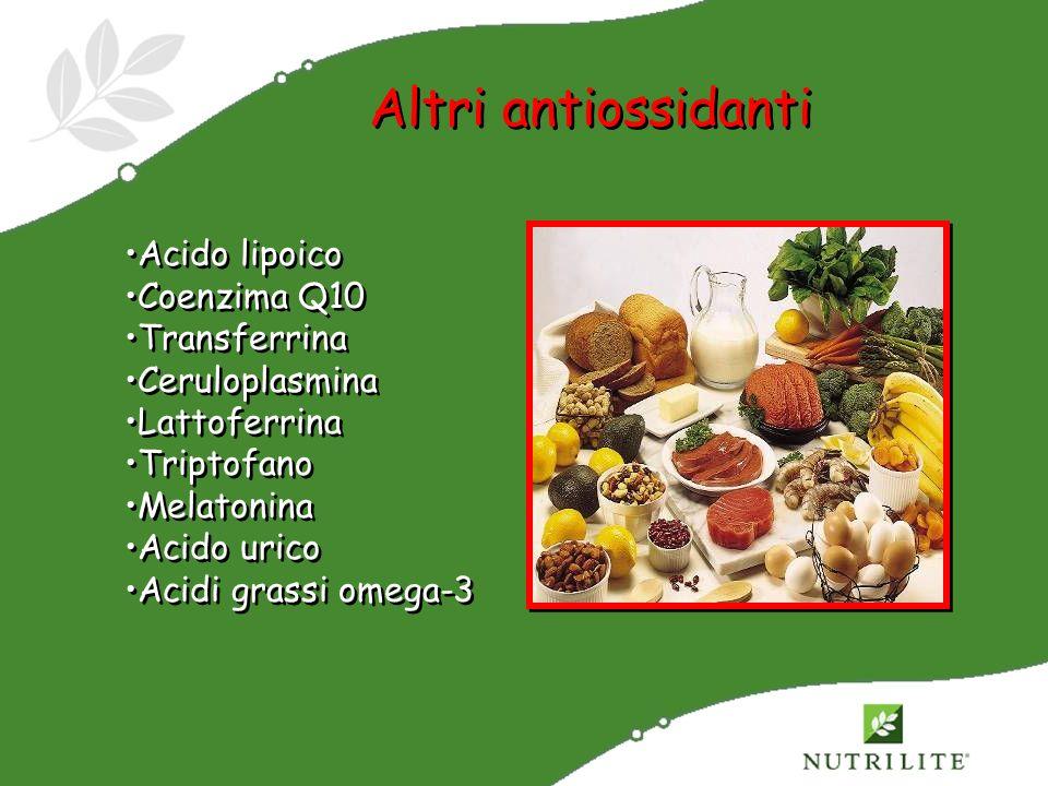 Altri antiossidanti Acido lipoico Coenzima Q10 Transferrina