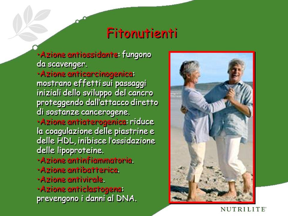 Fitonutienti Azione antiossidante: fungono da scavenger.