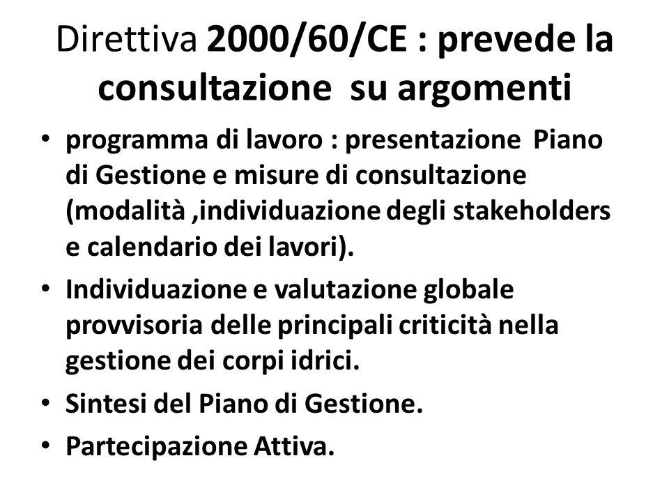 Direttiva 2000/60/CE : prevede la consultazione su argomenti