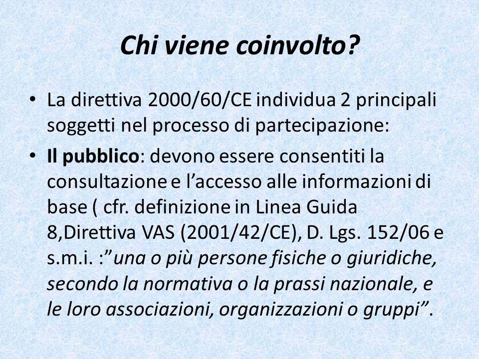 Chi viene coinvolto La direttiva 2000/60/CE individua 2 principali soggetti nel processo di partecipazione: