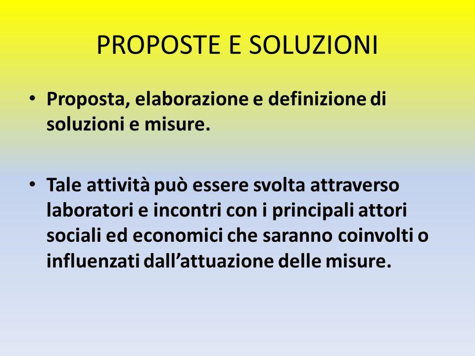 PROPOSTE E SOLUZIONI Proposta, elaborazione e definizione di soluzioni e misure.