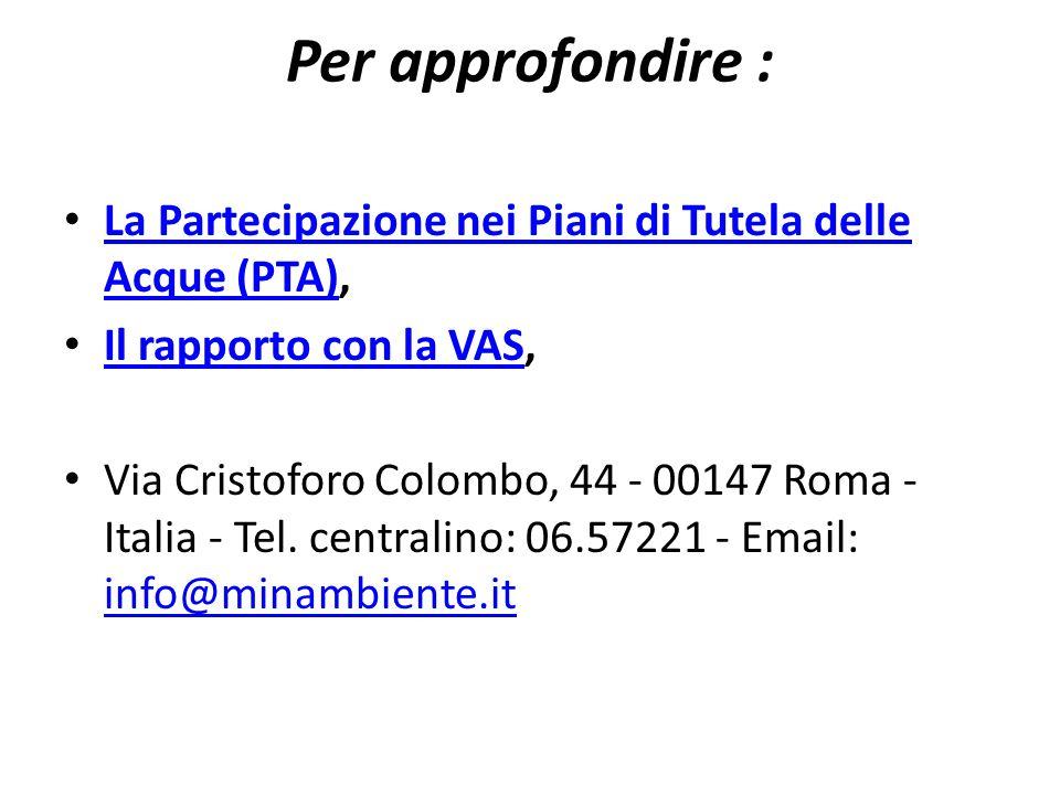 Per approfondire : La Partecipazione nei Piani di Tutela delle Acque (PTA), Il rapporto con la VAS,