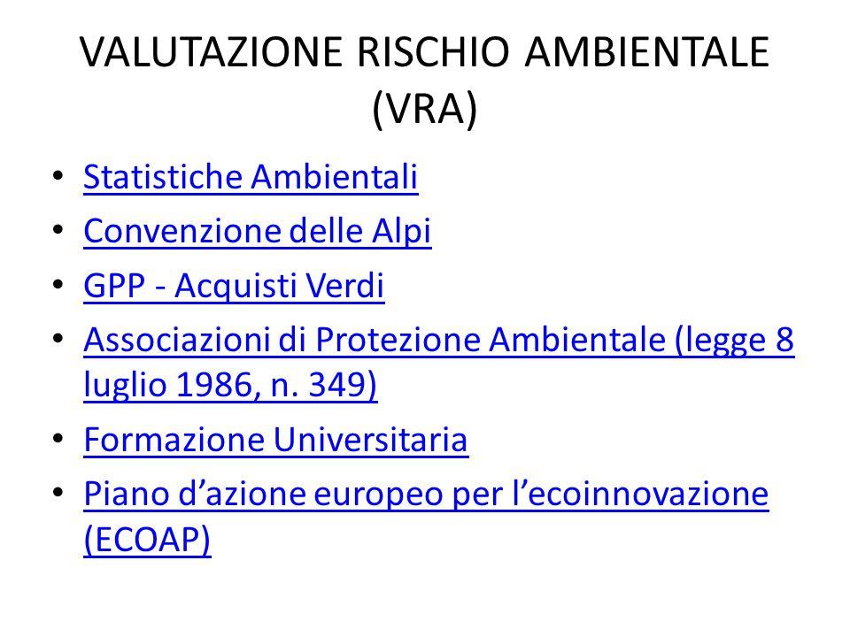 VALUTAZIONE RISCHIO AMBIENTALE (VRA)