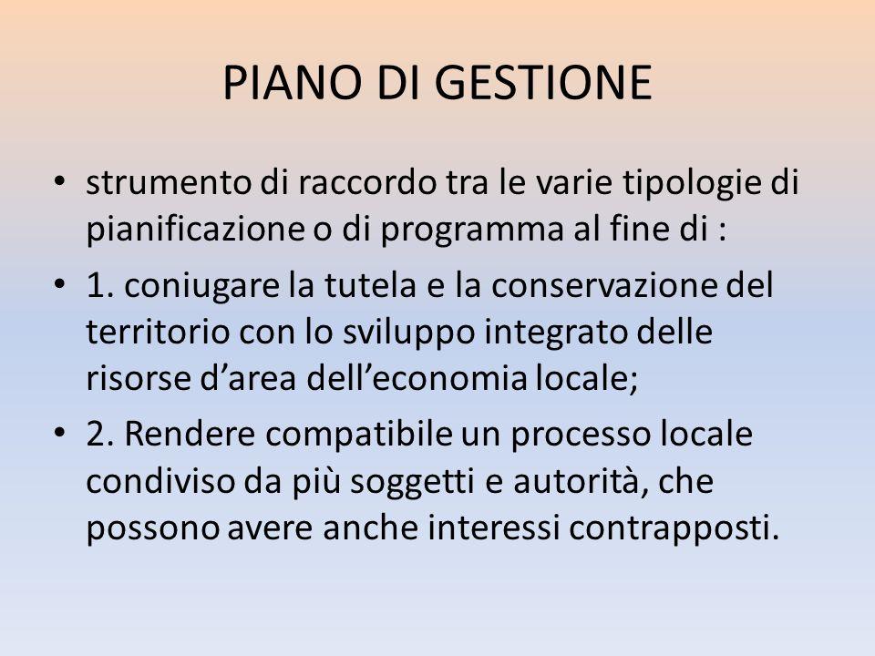 PIANO DI GESTIONE strumento di raccordo tra le varie tipologie di pianificazione o di programma al fine di :