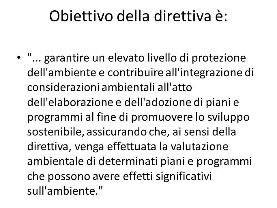 Obiettivo della direttiva è: