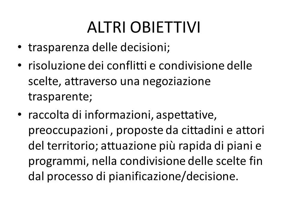 ALTRI OBIETTIVI trasparenza delle decisioni;