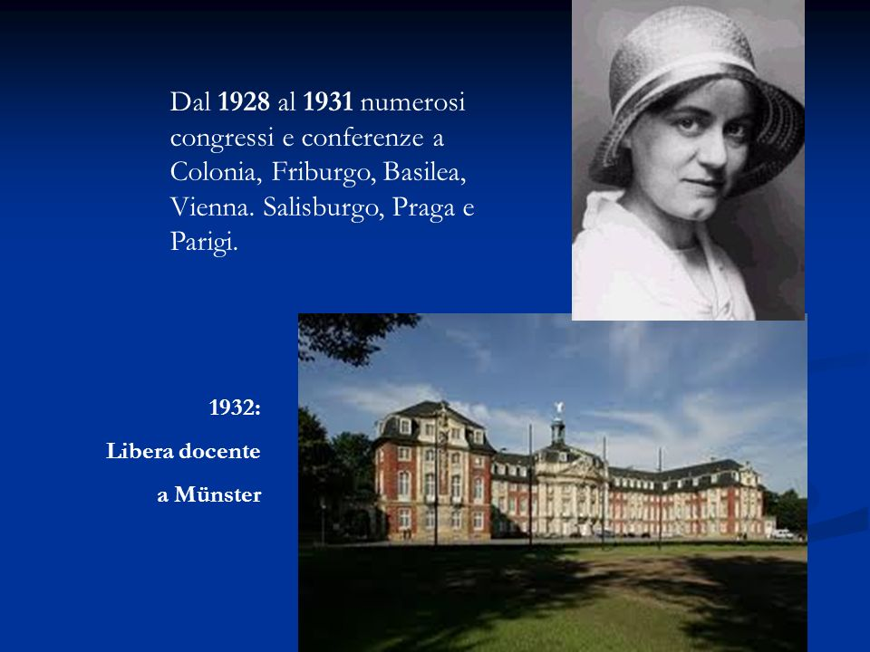 Dal 1928 al 1931 numerosi congressi e conferenze a Colonia, Friburgo, Basilea, Vienna. Salisburgo, Praga e Parigi.